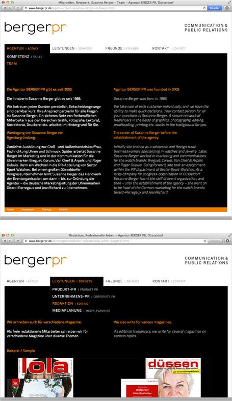 Webentwicklung, berger pr, kompakte und stilvolle Webseite